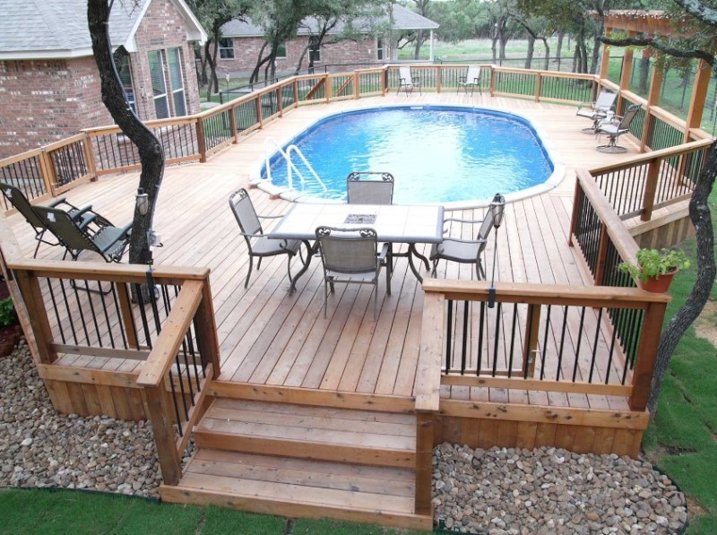 40 uniquely awesome above ground pools with decks for Above ground pool decks images