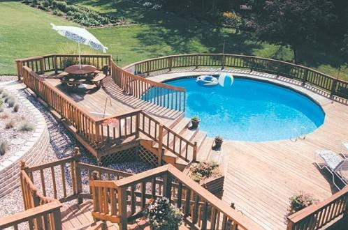 above ground pool with mutli level deck