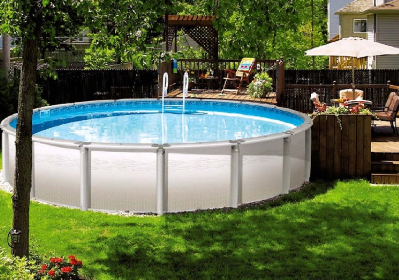 40 uniquely awesome above ground pools with decks for Above ground fiberglass pools