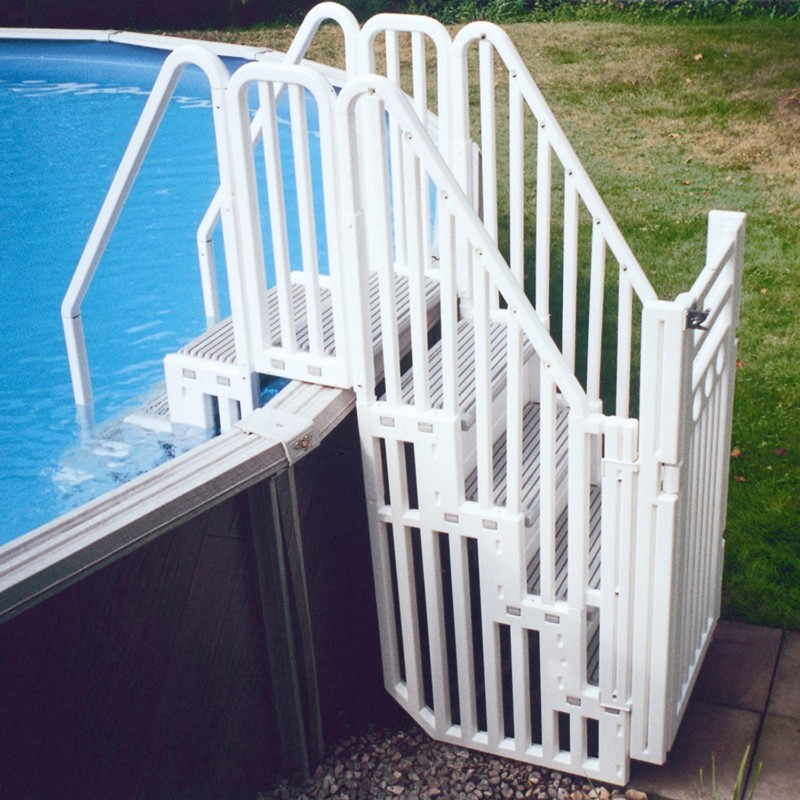 bove Ground Pool Step Entry System with Gate