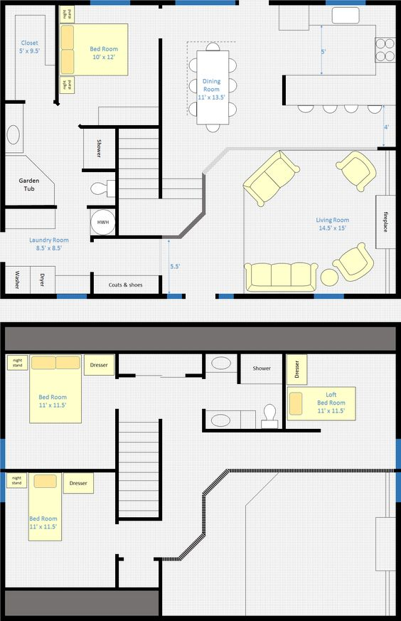 30 barndominium floor plans for different purpose for Two bedroom loft floor plans