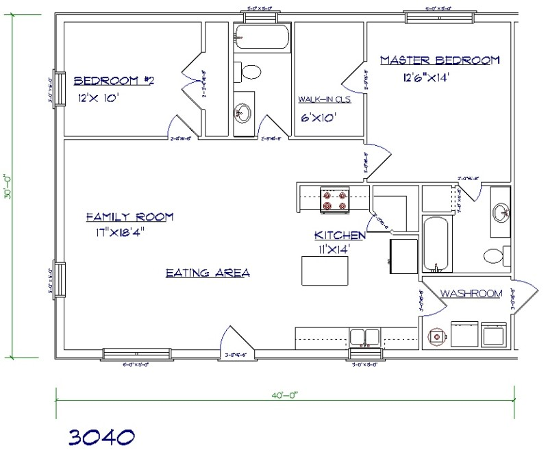 barndominium floor plan 2 bed 2 bath 30x40