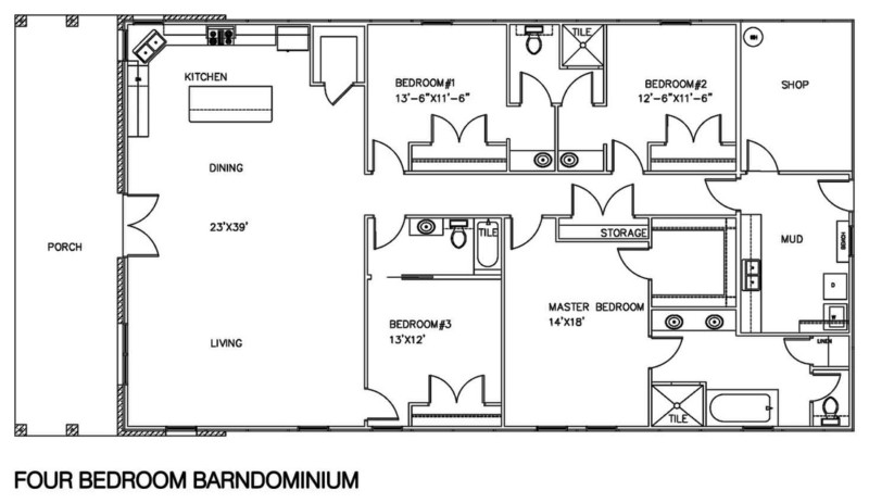 30 barndominium floor plans for different purpose for 4 bedroom floorplans