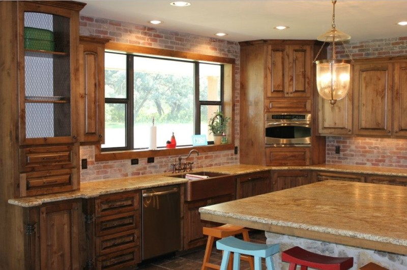 Modern barndominium kitchen with granite polished stone