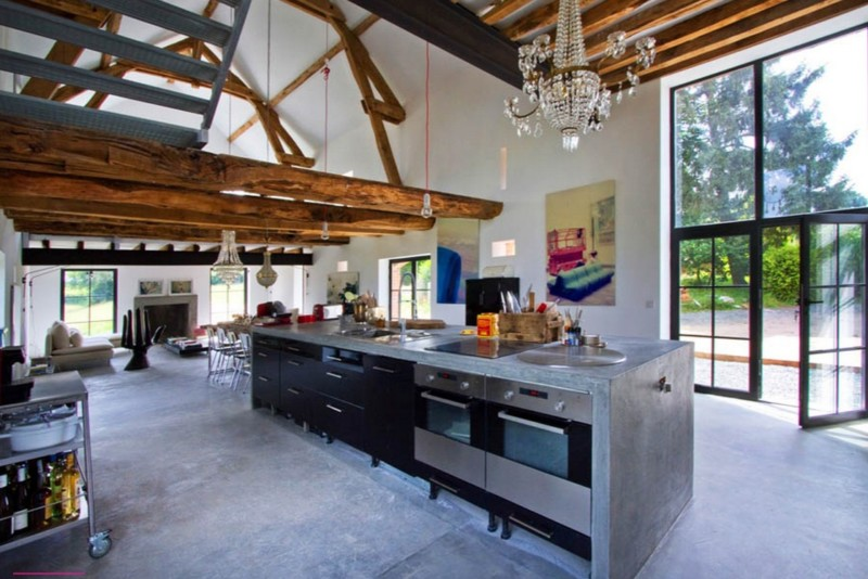 barn home kitchen with concrete floor