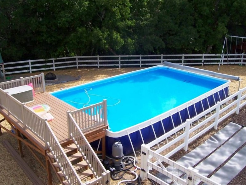 Above Ground Swimming Pool Deck Designs find this pin and more on pool decks photo 03 above ground pool deck designs Rectangle Above Ground Swimming Pool With Deck