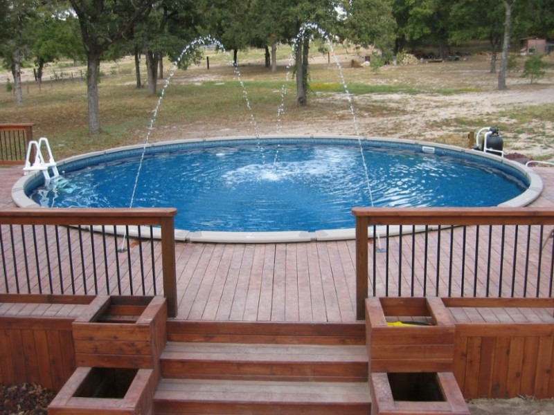 above ground pool decks waterfall