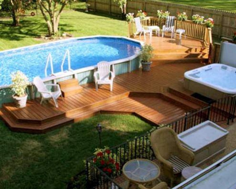 backyard landscaping decoration using above ground round-pool deck