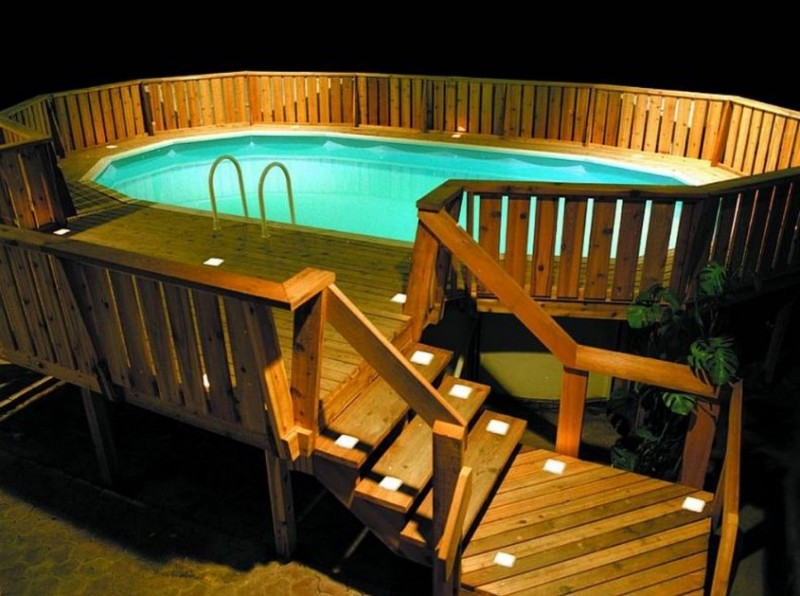 outdoor lighting for types of above ground pool decks - Above Ground Pool Deck