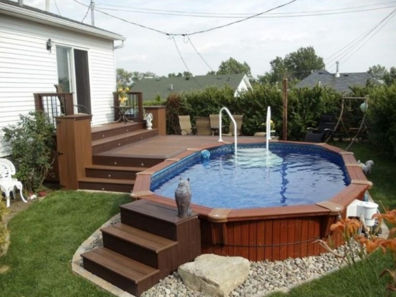 Above Ground Swimming Pool Design impressive above ground pools deck backyard designs