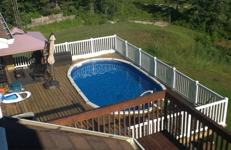 Intex oval above ground pool with decks