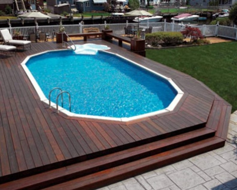 40 uniquely awesome above ground pools with decks for Above ground pool ladder ideas