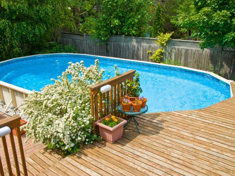 beautiful landscaping ideas for modern above ground pool with ...