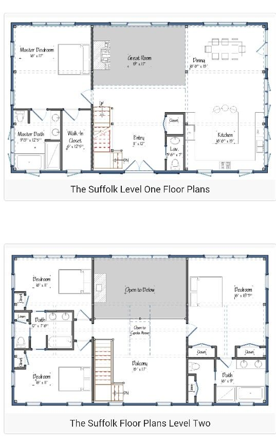 30 barndominium floor plans for different purpose for 2 story open floor plan