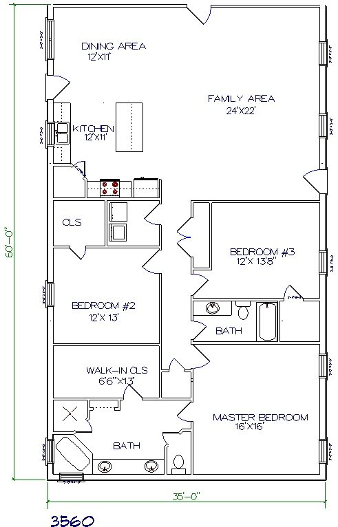 barndominium cost 3 bedroom 2 bathroom 35x60