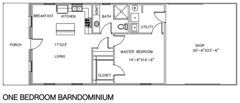 Delicieux Barndominium Floor Plans With Shop 1 Bedroom Design Ideas