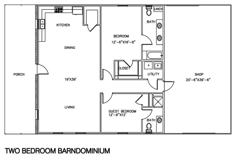 30 barndominium floor plans for different purpose for Metal shop house plans