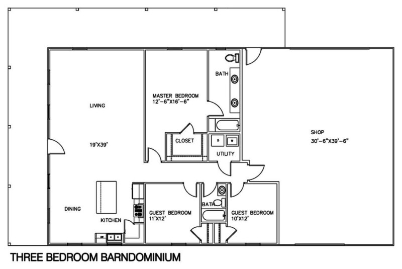 30 barndominium floor plans for different purpose for Shop floor plans
