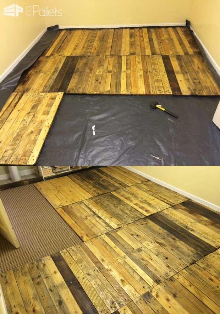 Here S How We Made A Removable Pallet Kitchen Floor