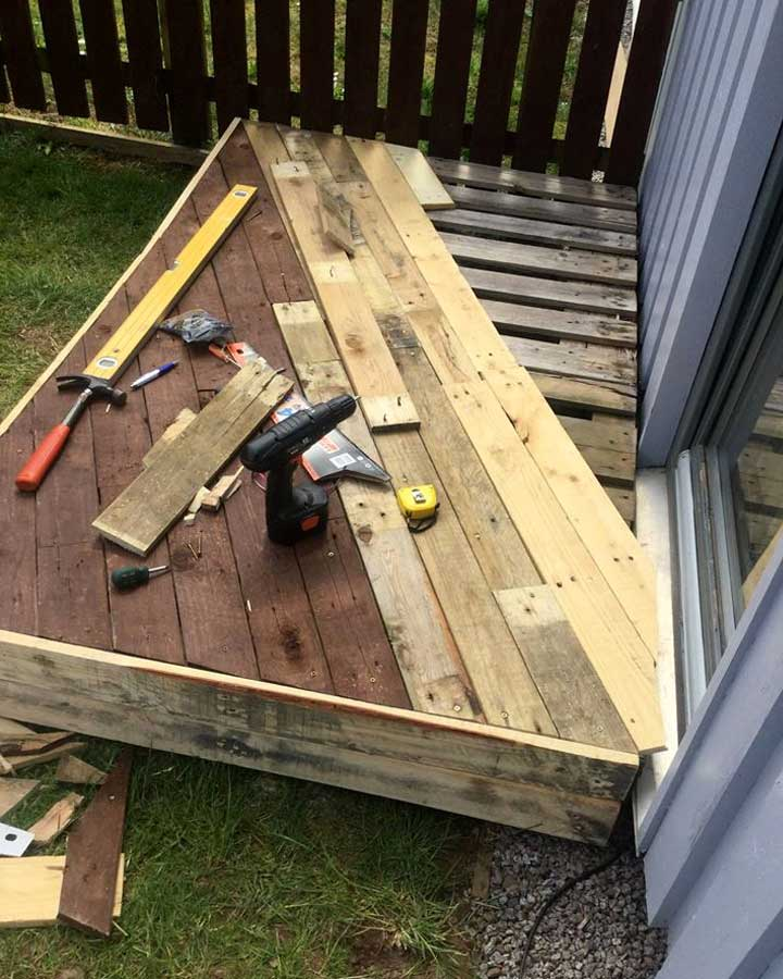 Pallet Front Porch Door Decking