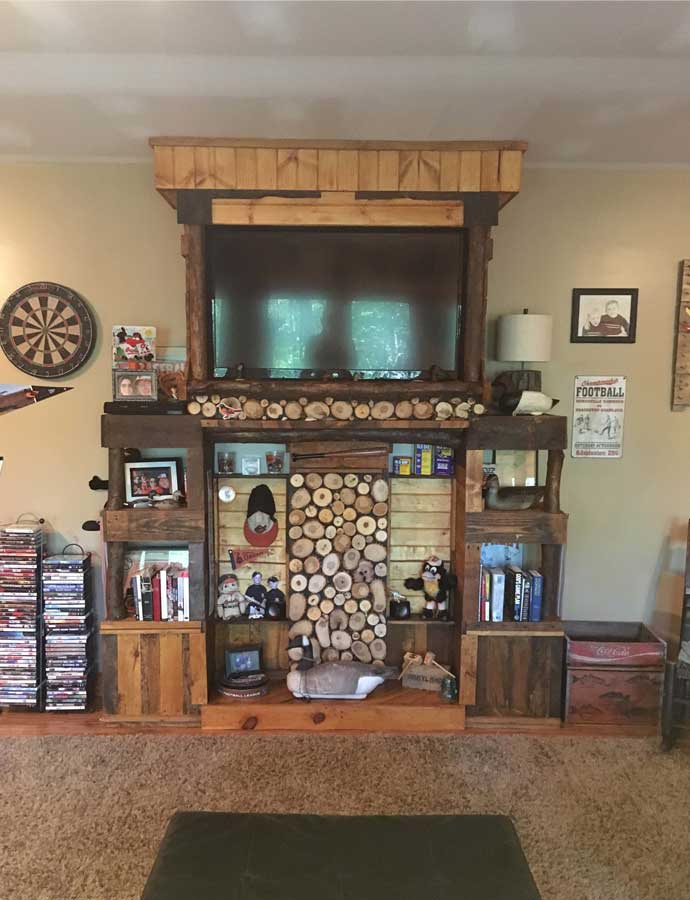 DIY Pallet And Log Entertainment Center
