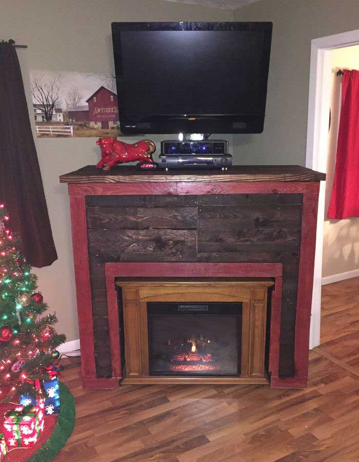 Entertainment TV Stand & Faux Fireplace From Recycled Pallets