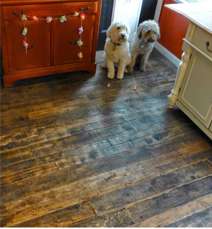 Reclaimed Wood Kitchen Floor