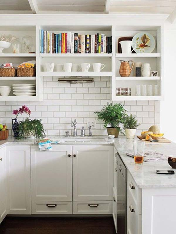 All white kitchen design choice emphasizing the feeling of space