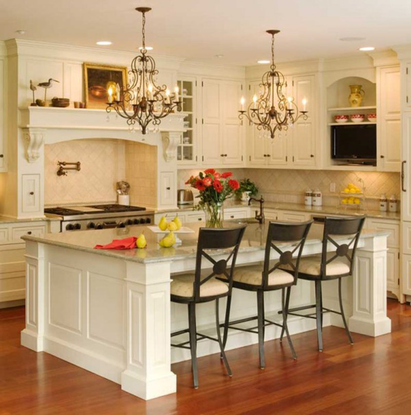 Inspiring Small Kitchen Ideas with Black Chairs and Pendant Light