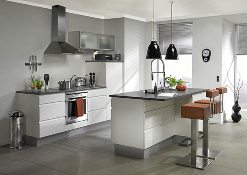 Modern Small Kitchen Ideas with White Cabinet and Black Pendant Lamps