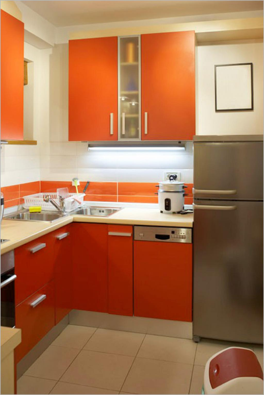 Really Small Kitchen Design Ideas With Orange Cabinet