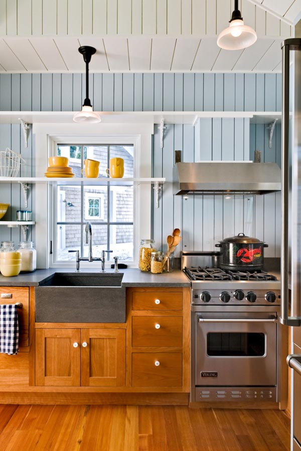 Small Kitchen Ideas - Choose patterns and visual elements that help to guide the gaze toward the ceiling