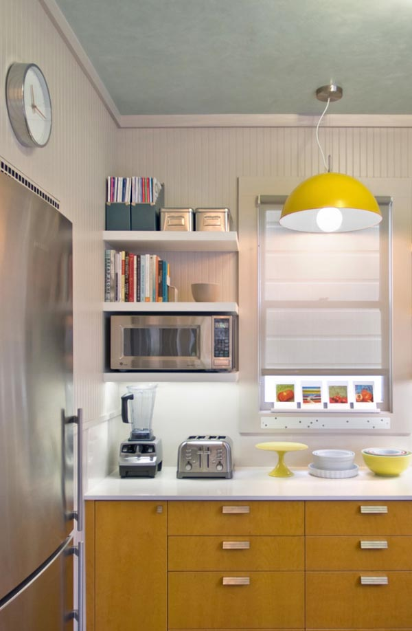 Small Kitchen Ideas - Open shelves reduce visual weight and lend the illusion of a more expansive space