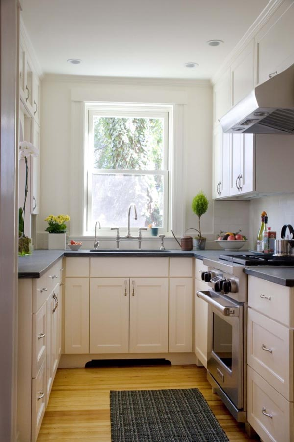 Small Kitchen Ideas - Paint cabinets the same color as the walls