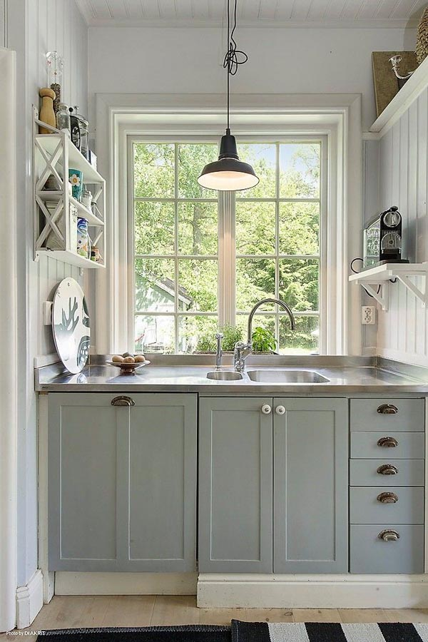 Small Kitchen Ideas with Pendant Lamp and Window