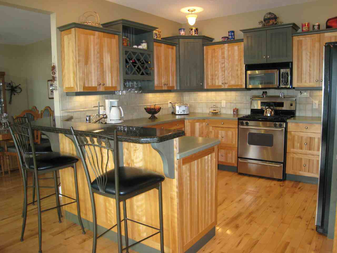 Small Kitchen Ideas with Two Chairs and Mini Bar Concept Kitchen