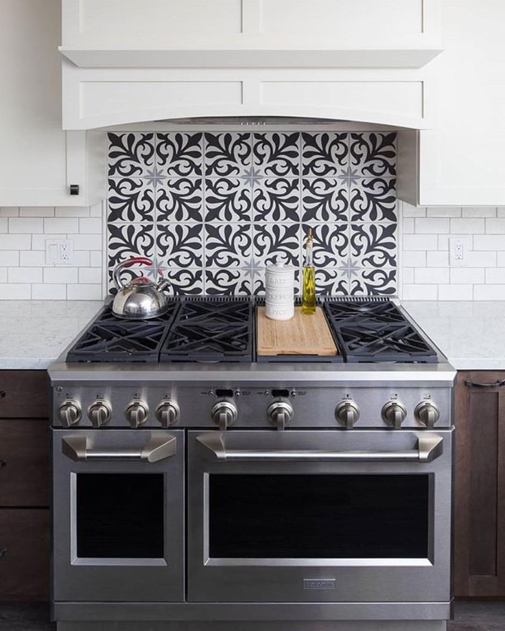 Spanish kitchen backsplash cement tile