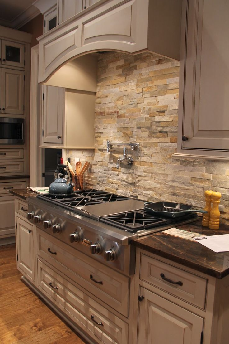 Backsplash Designs Decoration Stacked, not grouted stone backsplash