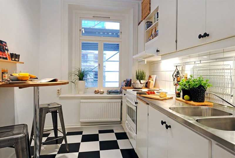 Stunning Small Kitchen Ideas With Black and White Floor