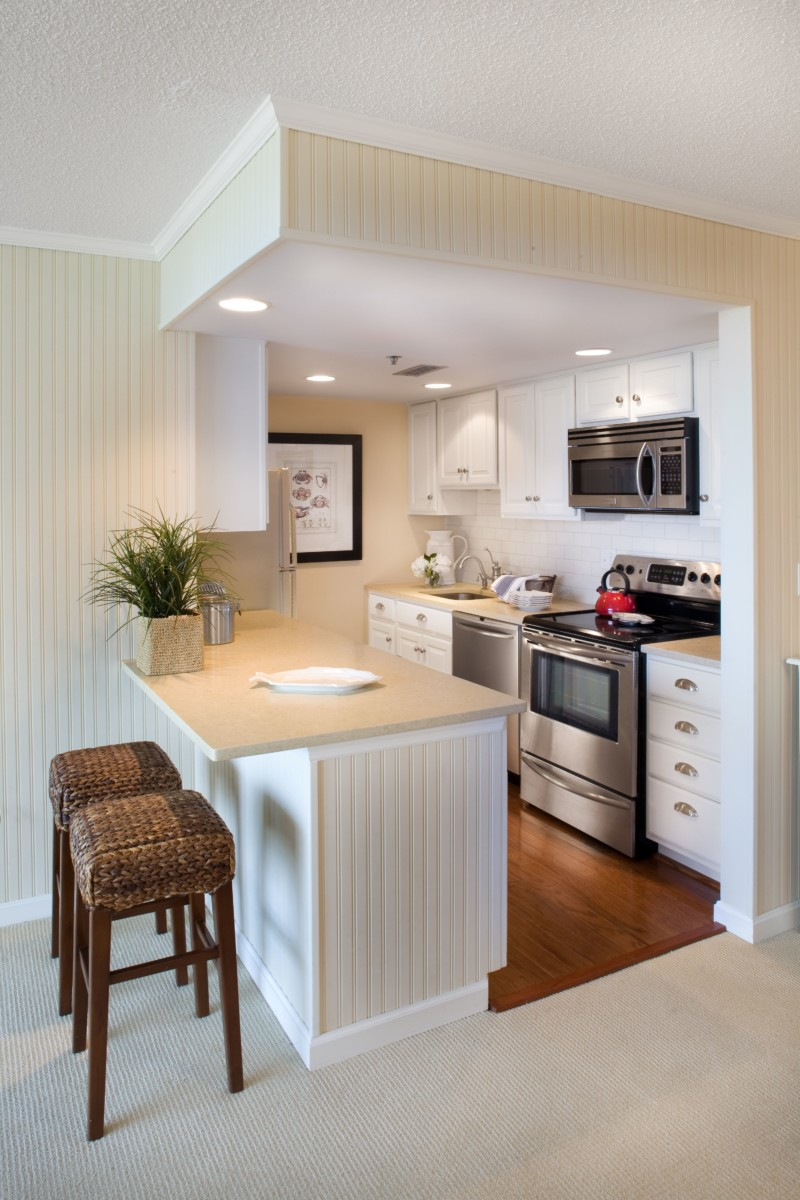 small but perfect for this beach front condo kitchen