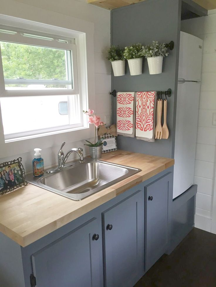 small kitchen with grey cabinet