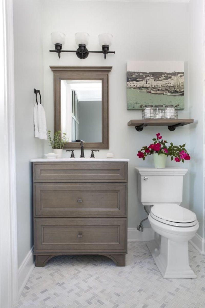 Simple bathroom makeover and Glass shelves for bathroom