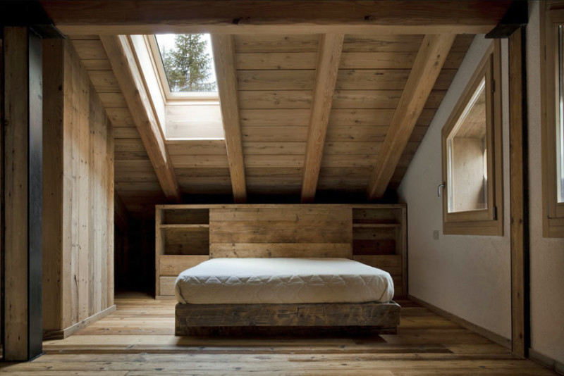 minimalist barn house bedroom