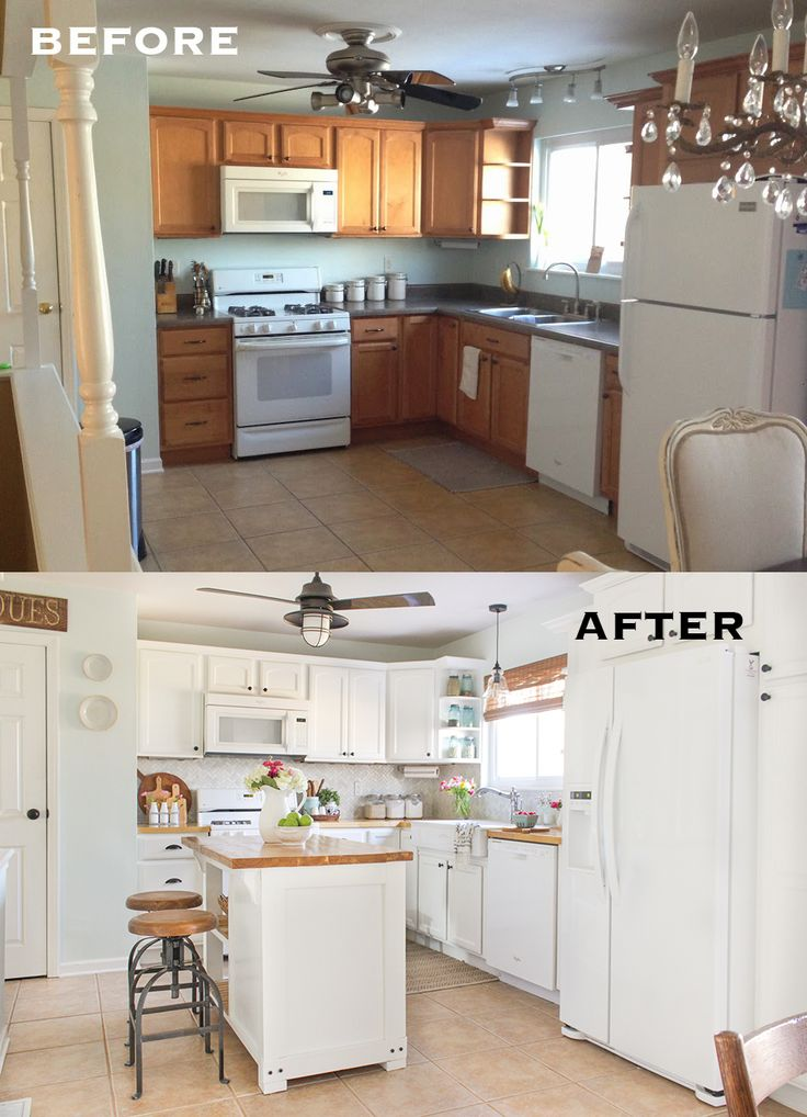 20 small kitchen renovations before and after diy for Kitchen remodels on a budget photos