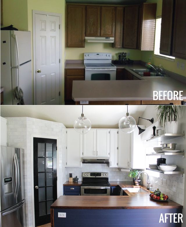 20 small kitchen renovations before and after diy for Kitchen cupboard makeover before and after