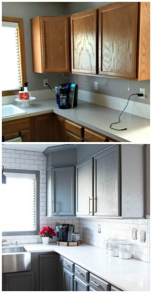 20 small kitchen renovations before and after diy for Cupboard renovation ideas