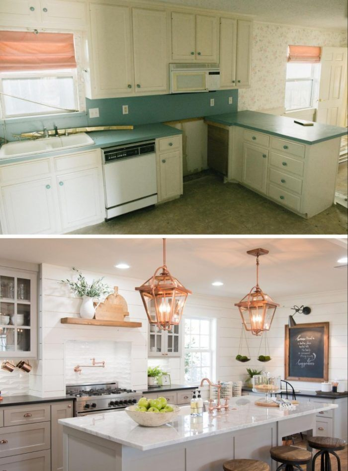 20 small kitchen renovations before and after diy for Small kitchen remodel before and after