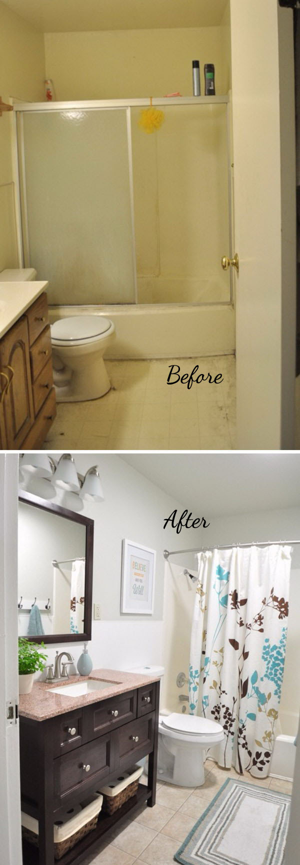 33 inspirational small bathroom remodel before and after for Bathroom renovation before and after