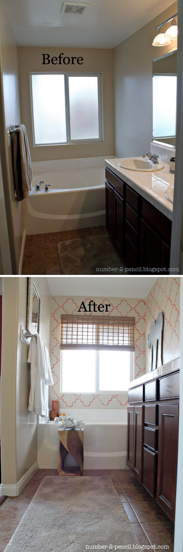 Coral and Yellow Small Bathroom Makeover Before After