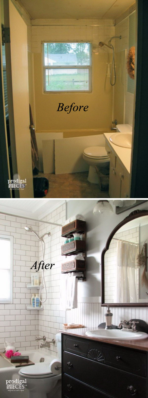 Farmhouse Small Bathroom Remodel Before After